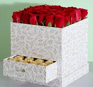 Stylish Box Of Red Roses & Chocolates