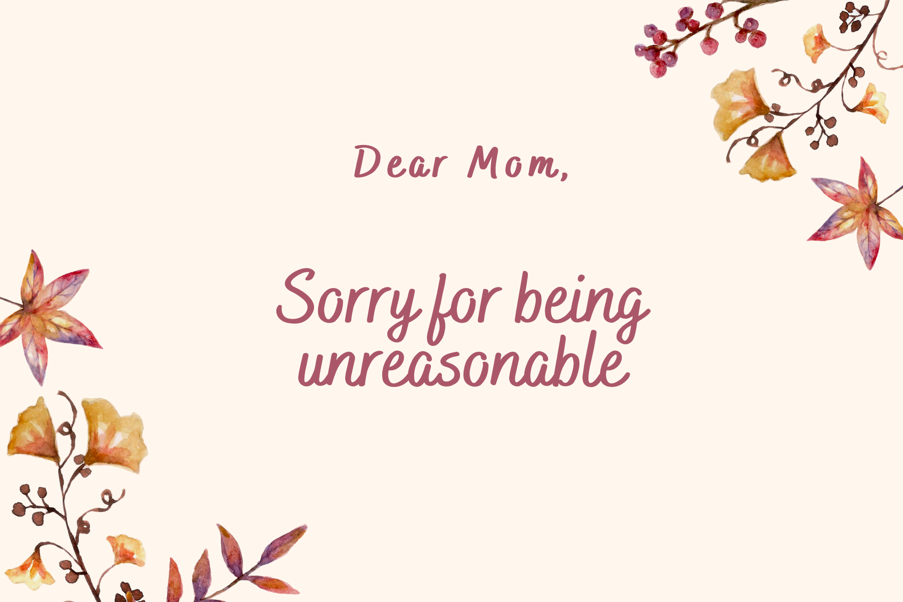 Sorry for being unreasonable